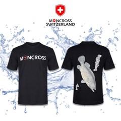 몽크로스 쏘가리 패턴 반팔 라운드 낚시 티셔츠 Black_(1268034)