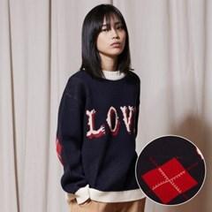 KN053_LOVE Crewneck Knit_Navy