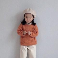 엔) 꽈배기 아동 면니트