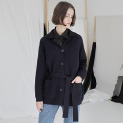 [와드로브] BELTED JACKET CARDIGAN_NAVY