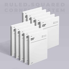 스프링북 - 화이트 (룰드/스퀘어드/코넬시스템) 10EA