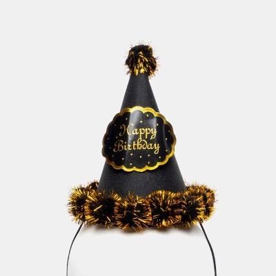 글리터 방울 생일고깔모자 소 [블랙]_(11817719)