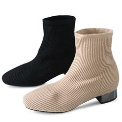 kami et muse Stripe pattern knit ankle boots_KM19w033