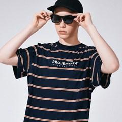 (UNISEX) 인터내셔날 스트라이프 로고 티셔츠 네이비레_(785926)