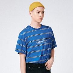 (UNISEX) 인터내셔날 스트라이프 로고 티셔츠 블루네이_(785925)