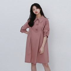 [가니송] 파이핑 카라 원피스_핑크
