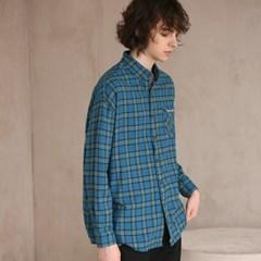 플란넬 체크 셔츠 F-B0503 #4 BLUE GREEN_(1272411)