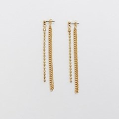 Long Crystal Chain Earring - Gold