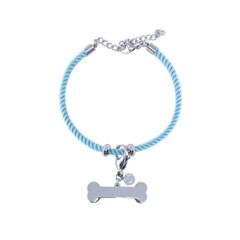 뼈다귀 로프 강아지 인식표 목걸이_ Sky blue
