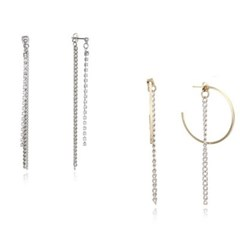 Long Crystal Earring + Ring Chain Earring
