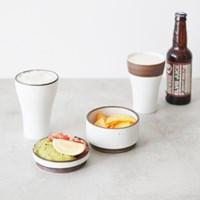제주 맥주컵 (화이트/딥브라운라인)