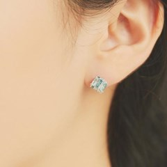 반짝이는 블루큐빅 포인트 사각 귀걸이 OTE119803QWL