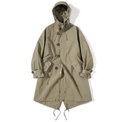 Hooded Fishtail Coat Pale Olive