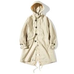 Hooded Fishtail Coat Beige