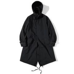 Hooded Fishtail Coat Black