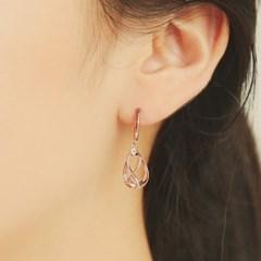 물방울속 웨이브 로즈골드 원터치 귀걸이 OTS119901QPW