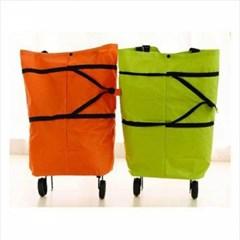 휴대용 카트형 접이식백 1개(색상랜덤)