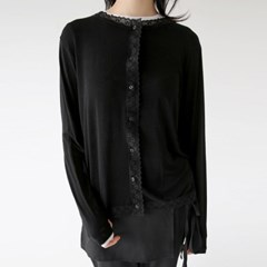 girlish lace sliky blouse (black)_(1341161)
