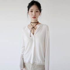 girlish lace sliky blouse (white)_(1341160)