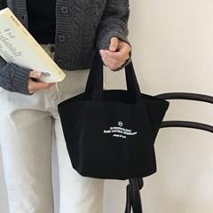 Basic mini canvas bag ( black )