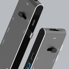 버바팀 듀얼 타입C 리트렉터블 USB3.0 카드리더기 HDMI PD 고속 충전