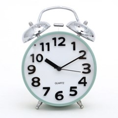 파스텔 3D 트윈 알람 탁상시계 민트 시계 추카추카넷_(1222301)