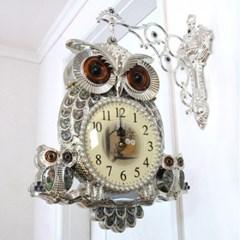 행운 부엉이가족 양면시계
