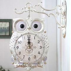 재물 부엉이 저소음 양면시계( R1012-01 ) 실버