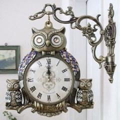 북유럽 부엉이가족 양면시계 골드