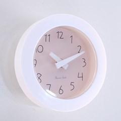 파스텔 이중흡착 욕실시계 (핑크)