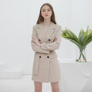 [클렛] CHECK JACKET BELT DRESS BEIGE