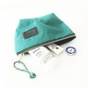 compact nylon pouch_emerald green