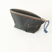 compact nylon pouch_black and white line