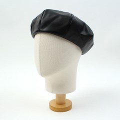 Simple Leather Black Beret 가죽베레모