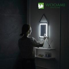[우아미] 퍼블릭 LED 터치 사각 스트랩 벽걸이 거울_(1726392)