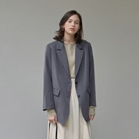 LOOSE-FIT SINGLE JACKET_CHARCOAL