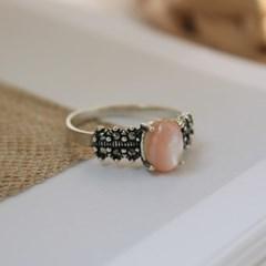 핑크 자개 리본 반지