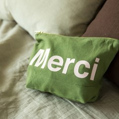 Merci cotton pouch KAKI