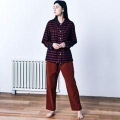 (W) Marilyn PJ Set Flannel Lumberjack & Cord Red Brick