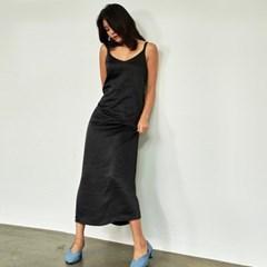그리키스 새틴 실키 슬립 롱 드레스 블랙
