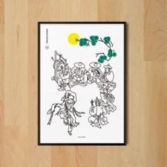 춤추는 소년 풍속화 김홍도 M 유니크 인테리어 디자인 포스터