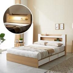 파로마 로건 LED 3서랍 수납헤드 침대 Q