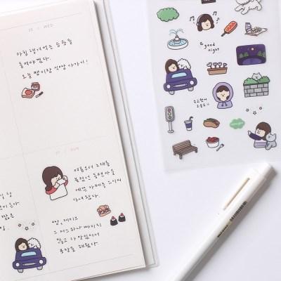소녀의 좋은 날 - 투명스티커