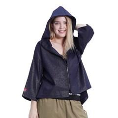 Jewel Shine Zip-up Hood (NAVY)_(1410533)