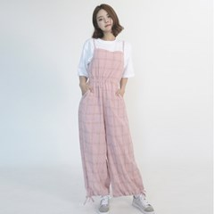 Cotton Check Long-wide Jumpsuit (PINK)_(1410647)