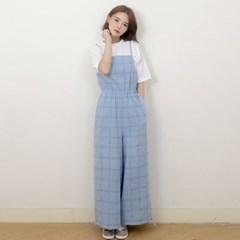 Cotton Check Long-wide Jumpsuit (BLUE)_(1410646)