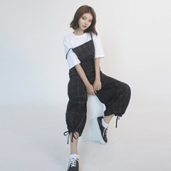 Cotton Check Long-wide Jumpsuit (BLACK)_(1410645)