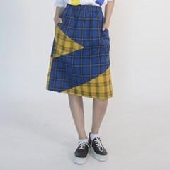 Check Midi Skirt (BLUE)_(1410644)