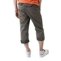 (UNISEX) CAMO Roll-up Capri Pants (KHAKI)_(1410681)