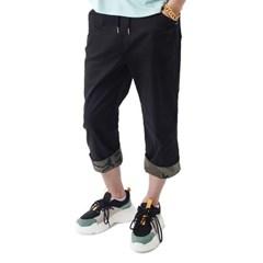 (UNISEX) CAMO Roll-up Capri Pants (BLACK)_(1410679)